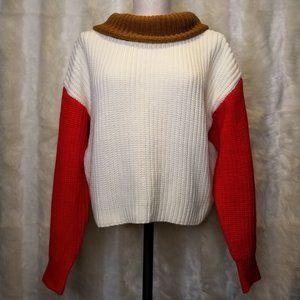 F21 Colorblock Turtleneck Chunky Knit Sweater